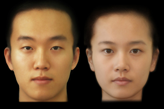 """The Korea Face Institute's forecast of what typical natural Korean faces will look like in 2100, with thicker eyebrows and a wider forehead for men. Women will generally have eyelid folds known as """"double eyelids,"""" the researchers predict. (Courtesy of The Korea Face Institute)"""