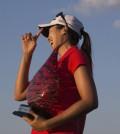 Hur Mi-jung celebrates after winning the LPGA Classic golf tournament on Sunday, Sept. 21, 2014, in Prattville, Ala. (AP Photo/Brynn Anderson)