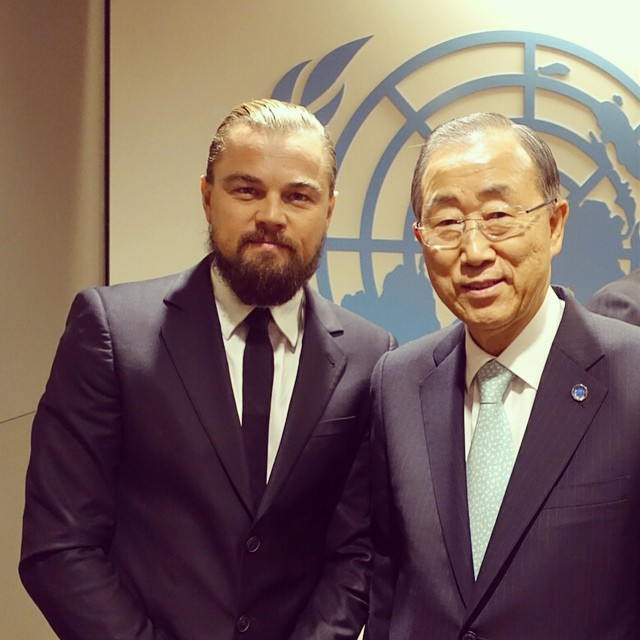 Leonardo DiCaprio, left, with U.N. Secretary General Ban Ki-moon. (Leonardo DiCaprio Facebook)