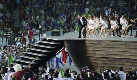 Psy performs during the opening ceremony for the 17th Asian Games in Incheon, South Korea,Friday, Sept. 19, 2014. (AP)