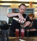 Bar Director Sean Naughton at Ray's and Stark Bar inside LACMA pours a soju cocktail. (Tae Hong/The Korea Times)