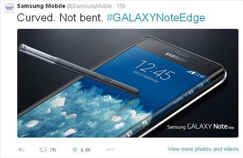 A screenshot of Samsung Electronics Co.'s official Twitter account on Sept. 26, 2014. (Yonhap)