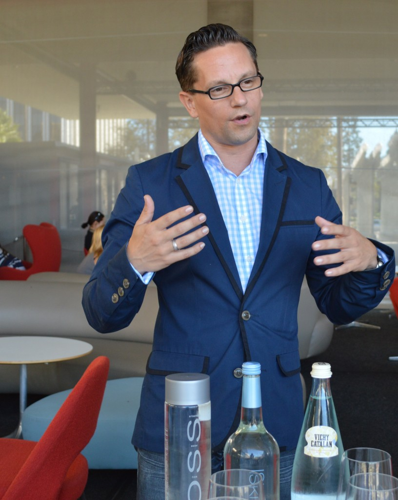 (General Manager and renowned water sommelier, Martin Riese, explains what to look for while tasting different types of water.)