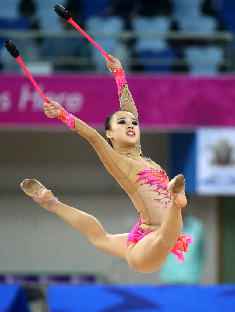 Son Yeon-jae won South Korea's first-ever Asiad gold in the individual all-around event at the Namdong Gymnasium in Incheon, Thursday.