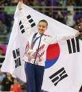 Son Yeon-jae celebrates after winning her first Asian Games gold medal. (Yonhap)