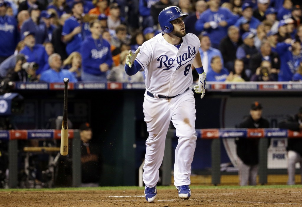 Kansas City Royals' Mike Moustakas hits a home run during the seventh inning of Game 6 of baseball's World Series against the San Francisco Giants Tuesday, Oct. 28, 2014, in Kansas City, Mo. (AP Photo/David J. Phillip)
