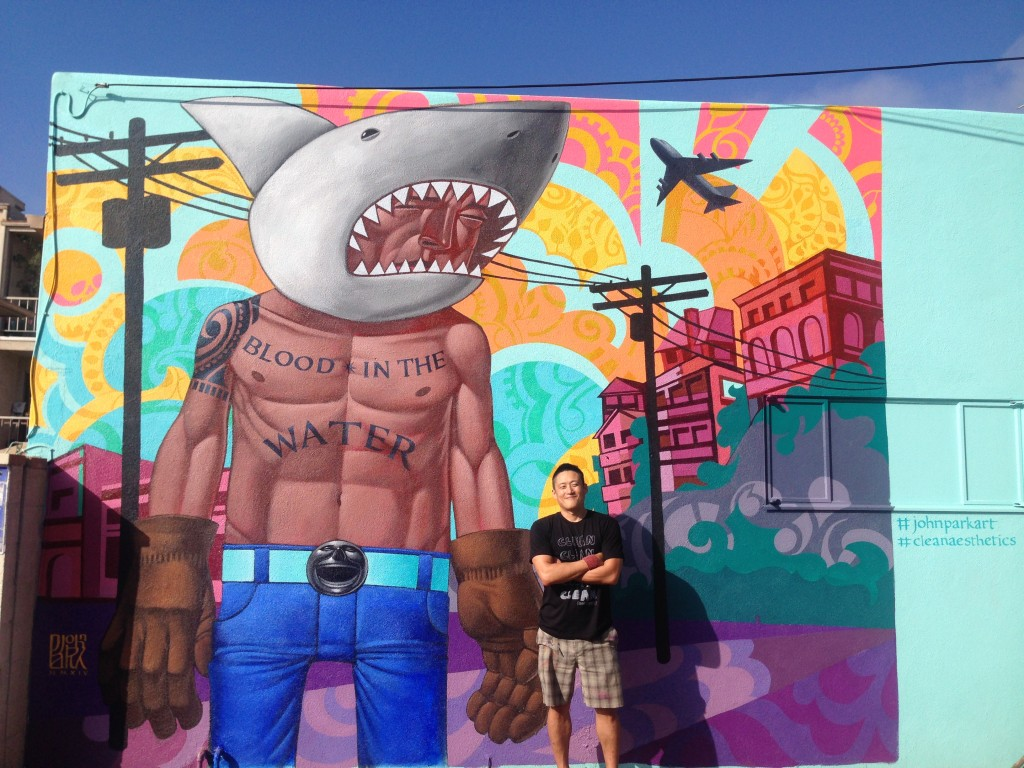 "Park next to his ""Shark Boy""  mural located in Playa del Rey."