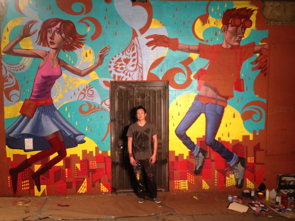 Park with his untitled mural outside of Gabba Gallery in Los Angeles' Koreatown