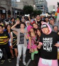 Attendees at K-Town Night Market Halloween Food Festival in Koreatown. (Park Sang-hyuk/The Korea Times)