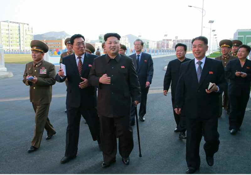 North Korean leader Kim Jong-un made his first public appearance in 40 days Oct. 14.  (Yonhap)
