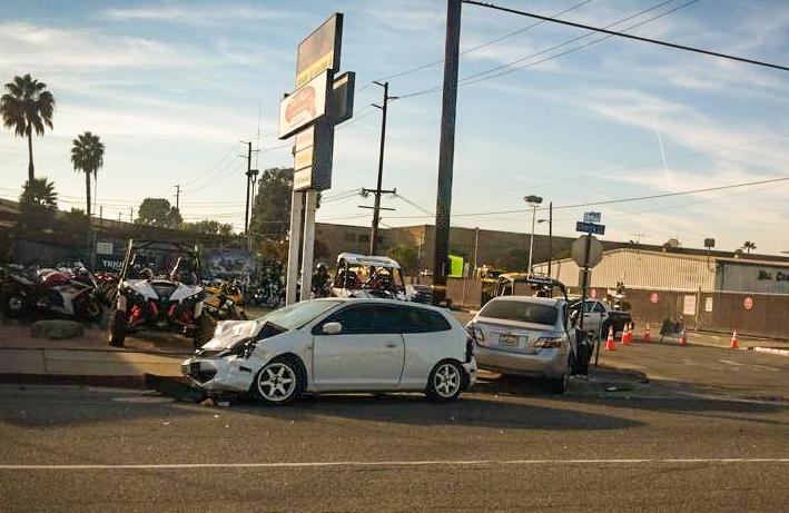 The scene of the accident in Long beach. (Photo courtesy of Teresa McCauley via Long Beach Post)