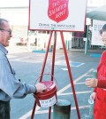 A Salvation Army red kettle outside Hannam Chain in Los Angeles' Koreatown.