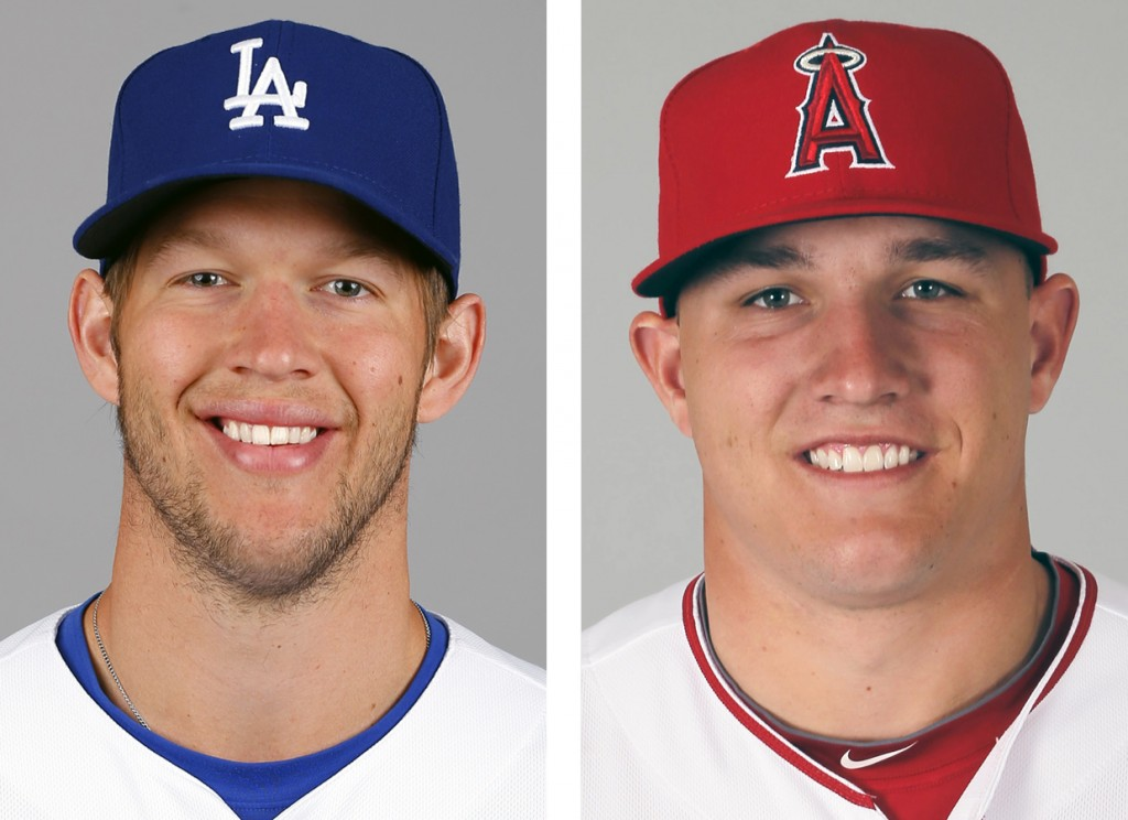 Los Angeles Dodgers Clayton Kershaw, left,  and Los Angeles Angels' Mike Trout.  (AP )