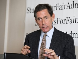 Edward Blum, the director of the Project on Fair Representation, during a news conference in Washington, Monday, Nov. 17, 2014, announced the filing of two lawsuits challenging the alleged racial preference admissions policies of Harvard and the University of North Carolina-Chapel Hill .   (AP Photo/Manuel Balce Ceneta)