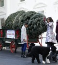 First lady Michelle Obama, second from right, joined by her daughters Sasha Obama, left, and Malia Obama, waves to the press after welcoming the Official White House Christmas Tree to the White House in Washington, Friday, Nov. 28, 2014. This year's White House Christmas Tree, which will be on display in the Blue Room, is a White Fir grown by Chris Botek, a second generation Christmas tree farmer from Crystal Spring Tree Farm in Lehighton, Penn. Dogs Bo and Sunny also participated. (AP Photo/Susan Walsh)