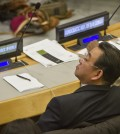 Choe Myong Nam, a North Korean official in charge of U.N. affairs and human rights, listens during a meeting of the U.N. General Assembly human rights committee, Tuesday, Nov. 18, 2014. An attempt to weaken a United Nations move to refer North Korea to the International Criminal Court for alleged crimes against humanity failed Tuesday. (AP Photo/Bebeto Matthews)