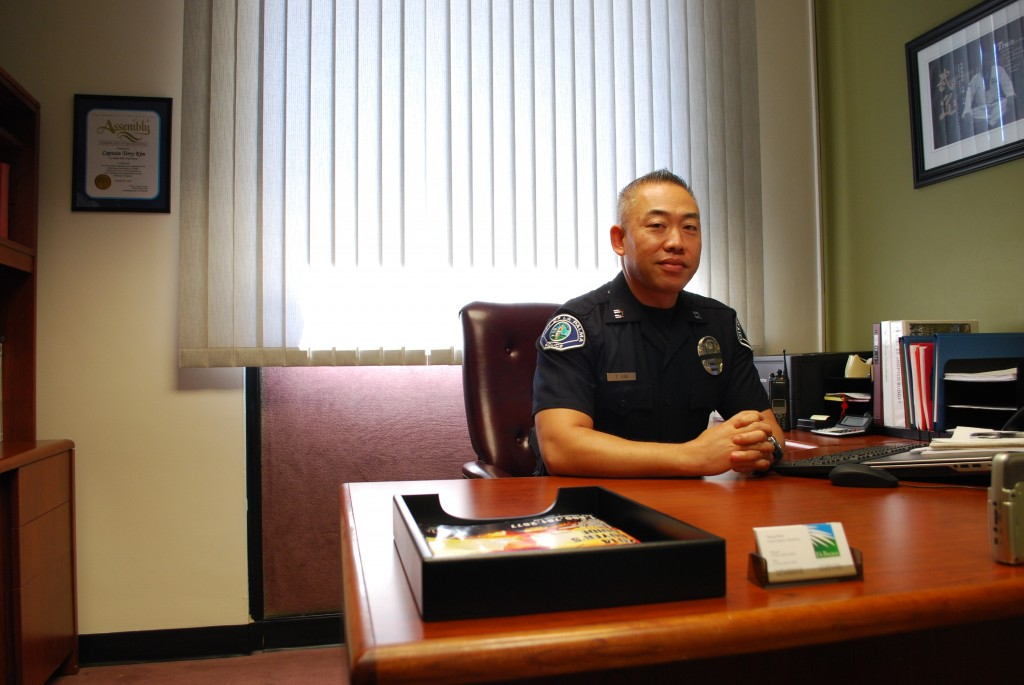 Capt. Terry Kim in his office at La Palma Police Department (The Korea Times)