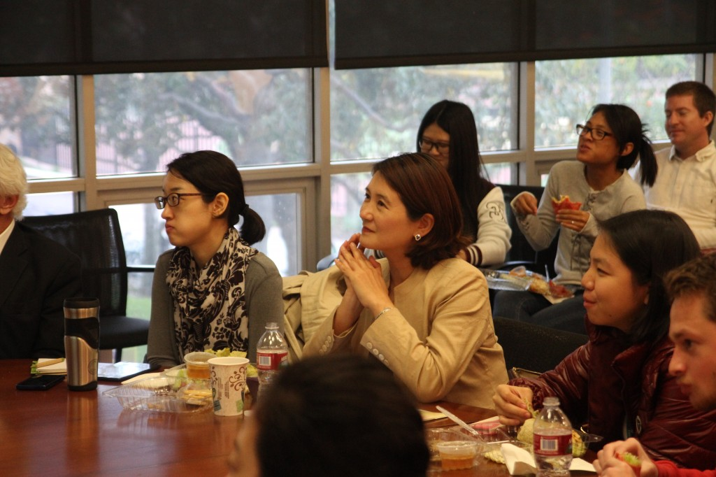 "Attendees listen to a talk given by Sohn Jie-Ae at ""K-pop Mania: South Korea's Place Under the Sun"" at USC Wednesday."