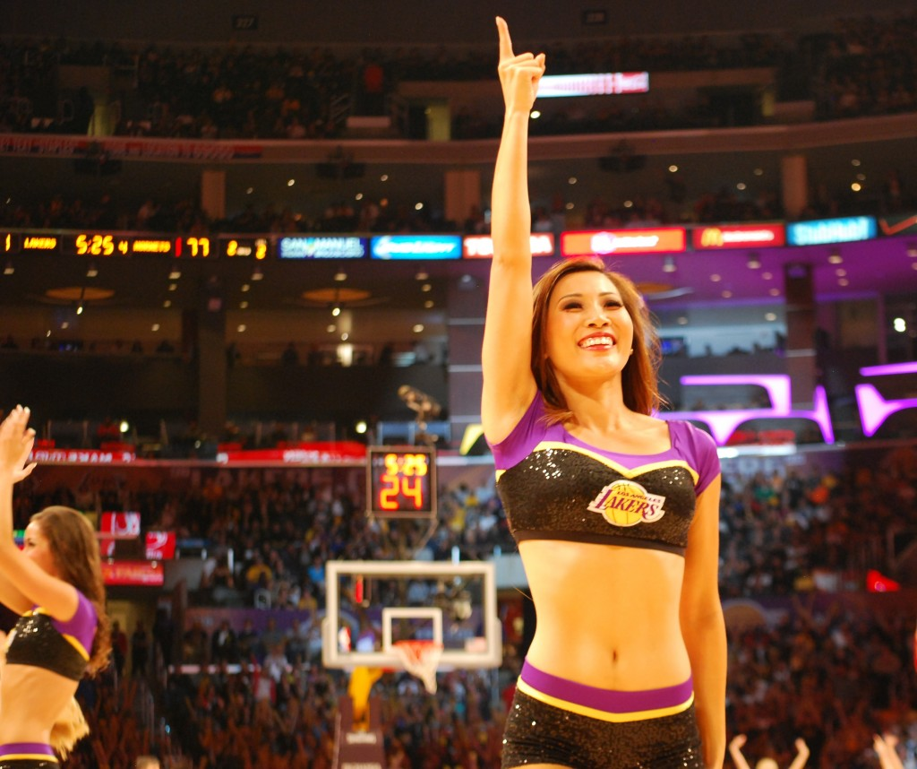 Sujan Pang begins her first year as a Laker Girl in the 2014-15 NBA season. (Korea Times)