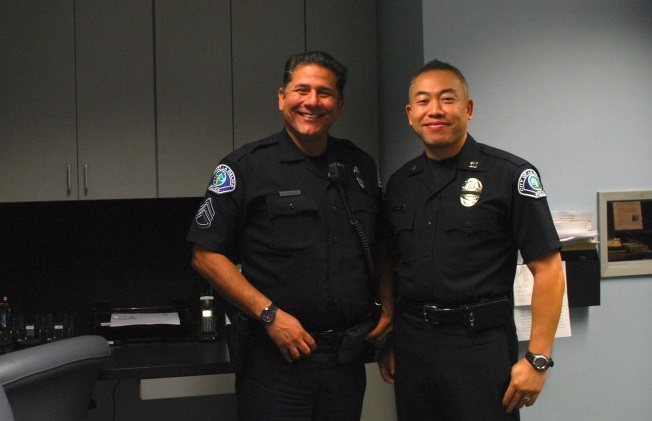 Capt. Terry Kim with long time friend and colleague Detective Sergeant Raul Morales (Korea Times)