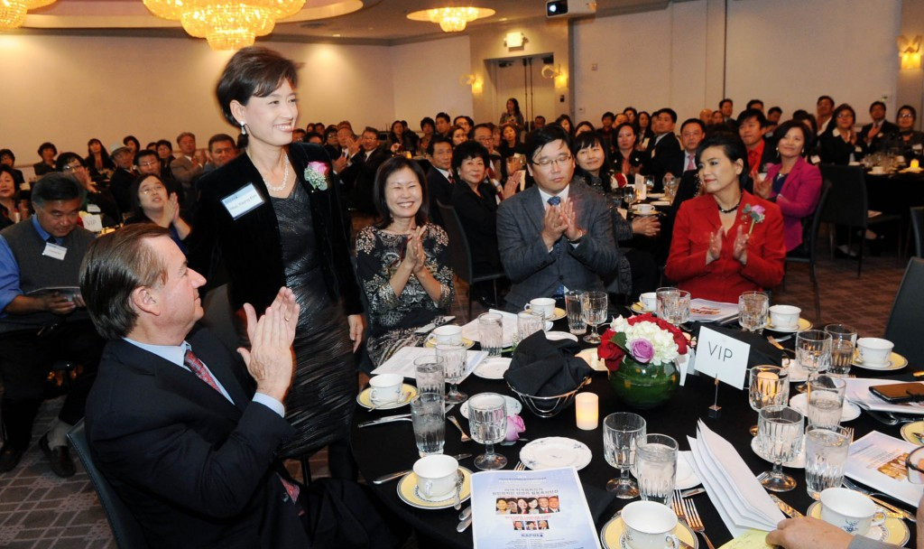 State Assembly 65th District-elect Young Kim, second from left, attends the 4th Korean American Political Conference & Next Generation Leadership Forum at The Line Hotel Monday night. (Park Sang-hyuk/The Korea Times)