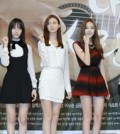"""Stars of Korean drama """"My Lovely Girl,"""" including Rain, left, Krystal, third from left, and L, first from right, pose during a press event prior to the drama being broadcast. The drama, with a cast of K-pop stars, has been sold to China, with transmission rights costing $200,000 per episode. (Korea Times file)"""