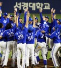 The Samsung Lions' players cheer after winning the 2014 Korea Baseball Organization (KBO) Series at Jamsil Stadium in southern Seoul, Tuesday. The Lions routed the Nexen Heroes 11-1 in game 6 of the series to become the champions for the fourth straight year. (Yonhap)