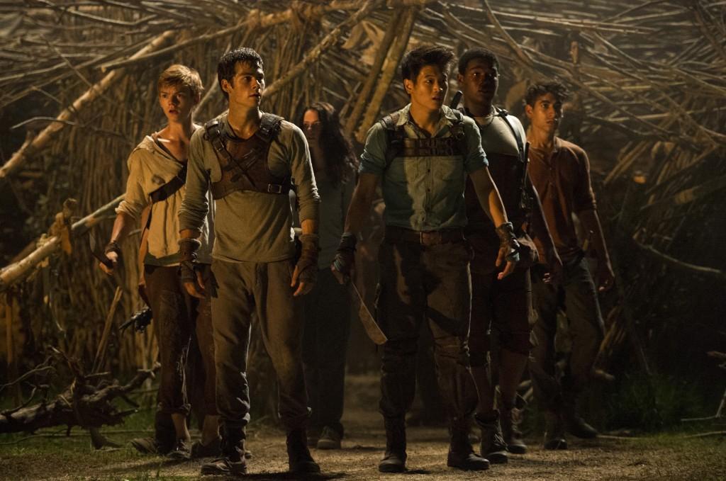 """Ki Hong Lee, third from right, in """"The Maze Runner,"""" 2014. (Ben Rothstein/Twentieth Century Fox)"""