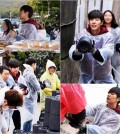 Park Hae-jin hustles with rumormongers delivering briquettes for residents of Guryong village in Seoul. (Yonhap)