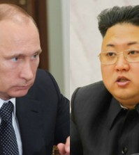 Vladimir Putin, left, and Kim Jong-un. (Korea Times file)