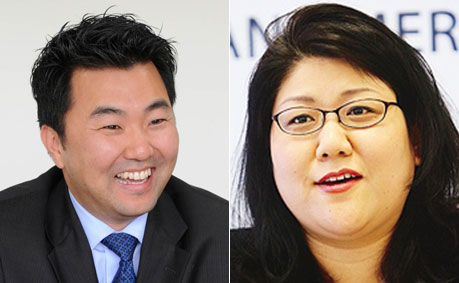 [left] David Ryu, candidate for Los Angeles City Council District 4 (The Korea Times file) [right] Grace Yoo, District 10 candidate for Los Angeles City Council