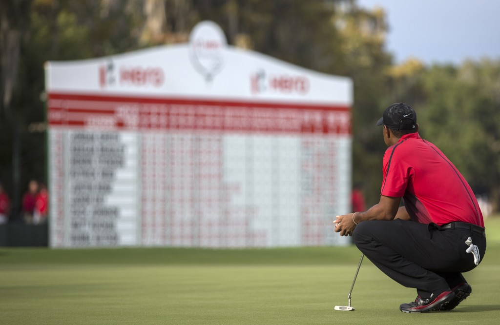 Tiger Woods waits for his turn to put on the 18th green during the final round of the Hero World Challenge golf tournament on Sunday, Dec. 7, 2014, in Windermere, Fla. (AP Photo/Willie J. Allen Jr.)