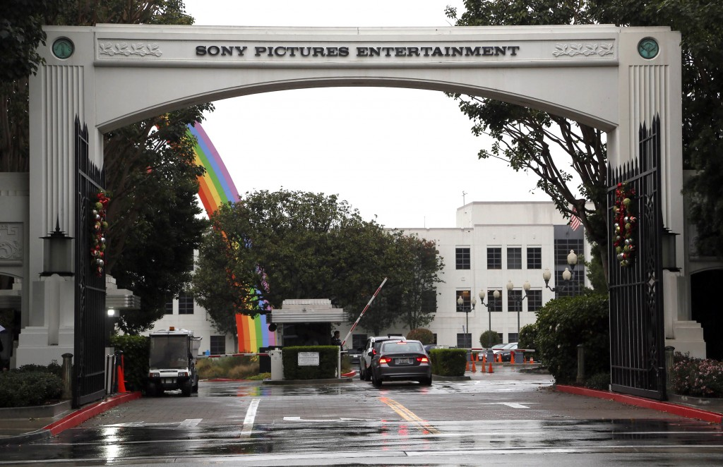 Cars enter Sony Pictures Entertainment headquarters in Culver City, Calif. on Tuesday, Dec. 2, 2014. The FBI has confirmed it is investigating a recent hacking attack at Sony Pictures Entertainment, which caused major internal computer problems at the film studio last week. (AP Photo/Nick Ut)