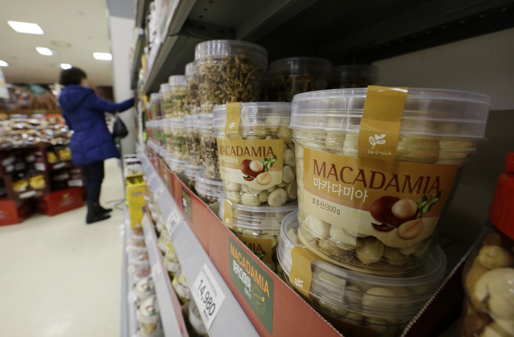 Plastic containers of Macadamia nuts for sale are displayed at a store in Seoul, South Korea, Monday, Dec. 15, 2014. Nut rage imploded the career of a Korean Air Lines executive and embarrassed her family and country. Now South Korean retailers are experiencing the unexpected upside: a boom in sales of macadamias.(AP Photo/Ahn Young-oon)