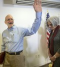 Alan Gross, waves as he and his wife Judy leave following his statement at his lawyer's office in Washington, Wednesday, Dec. 17, 2014. Gross was released from Cuba after 5 years in a Cuban prison. (AP Photo/Pablo Martinez Monsivais)
