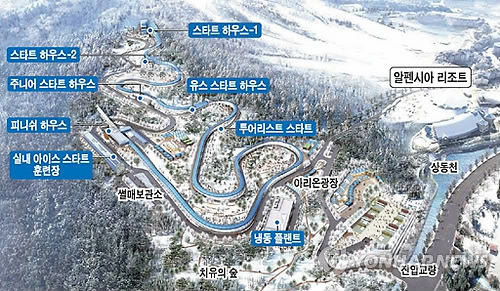 A bird's eye view map of the Olympic sliding center in PyeongChang, South Korea. (Yonhap)