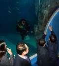 Government officials inspect suspicions of leaking at the Lotte Aquarium. (Korea Times file)