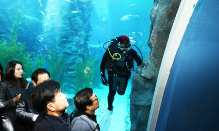 Inspectors from the Ministry of Public Safety and Security check cracks in an aquarium at the second Lotte World, southern Seoul, Wednesday. (Yonhap)