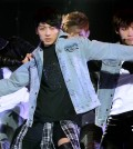 BTS member Jungkook winks at the crowd during performance. (NEWSis)
