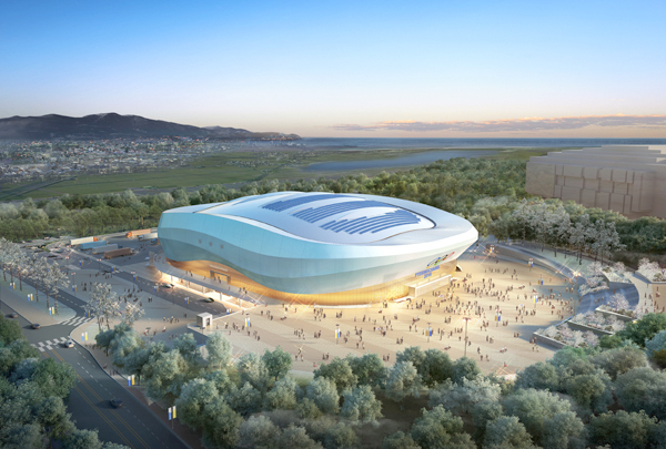 Released on July 16, 2014, is the image of the ice rink for figure and short-track speed skating events at 2018 Winter Olympics in Pyeongchang to be built in Gangneung, Gangwon Province. (Yonhap)