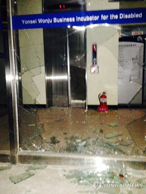 The boar broke through the glass door of the entrance and proceeded to damage the elevator doors ahead of it. (Yonhap)