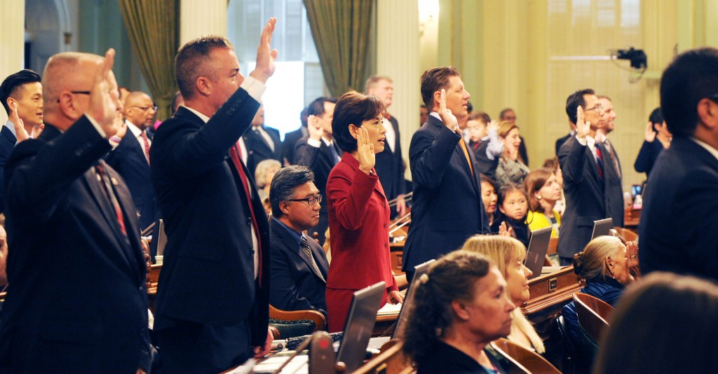 Assemblywoman Young Kim, third from left, during the swearing-in ceremony in Sacramento Monday. (Park Sang-hyuk/The Korea Times)
