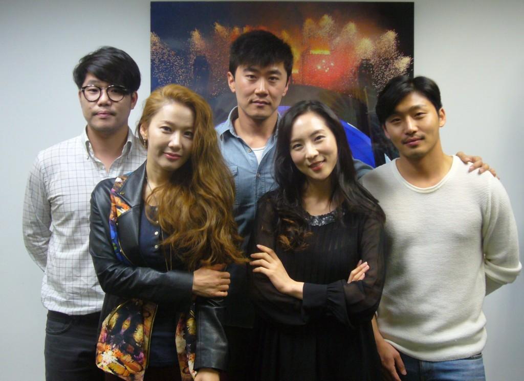 "The cast of ""The Best Love."" Clockwise from right: Cheon Jong-hwan, Bae So-eun, Kil Gun, Han Man-kyu, Park Seok-joon."