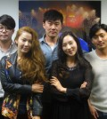 "The cast of ""The Best Love."" Clockwise from right: Cheon Jong-hwan, Bae So-eun, Kil Gun, Han Man-kyu, Park Seok-joon."
