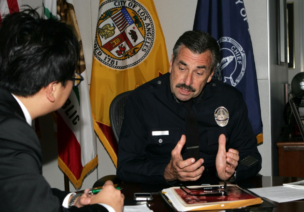 LAPD Chief Charlie Beck during an interview at LAPD's downtown headquarters. (Lee Woo-su/The Korea Times)