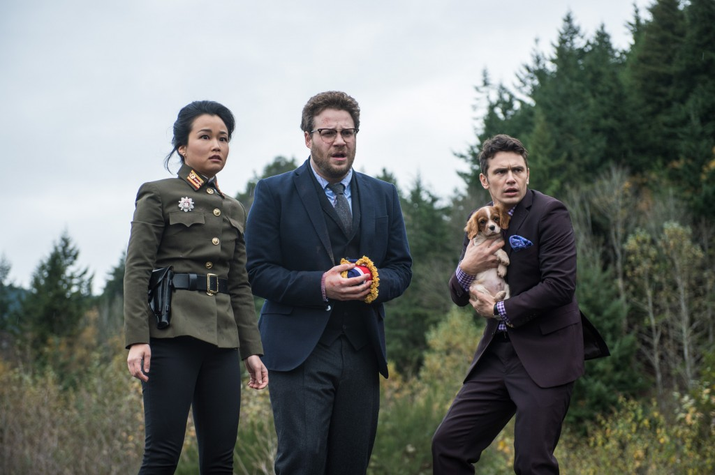 "Diana Bang plays Sook in Sony's semi-controversial political comedy ""The Inverview."" She co-stars alongside Seth Rogen, center, and James Franco. (Courtesy of Sony Pictures)"