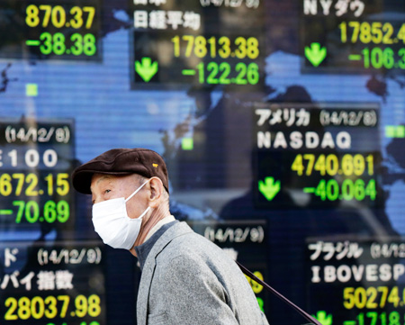 A man passes by an electronic stock board of a securities firm in Tokyo, Tuesday, as Asian stocks mostly fell on concern about feeble Chinese trade figures, Japan's recession and weaker-than-expected German industrial growth. The Japanese yen is expected to weaken further at a faster rate against the won, making Korean exports less competitive. (AP)