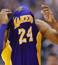 Kobe Bryant is officially done for the season. (AP)