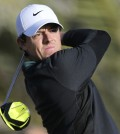 Rory McIlroy of Northern Ireland tees off on the 14th hole during first round of the Abu Dhabi HSBC Golf Championship in Abu Dhabi, United Arab Emirates, Thursday Jan. 15, 2015. (AP Photo/Kamran Jebreili)
