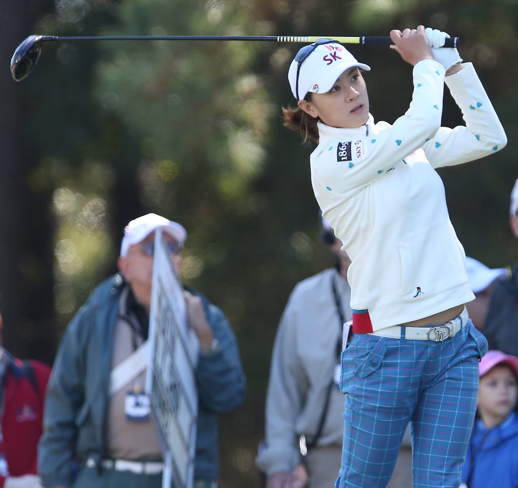 Na Yeon Choi of South Korea watches the flight of her ball from the 10th tee during the first round of the LPGA's Coates Golf Championship at Golden Ocala Golf and Equestrian Club in Ocala, Fla., on Wednesday, Jan. 28, 2015. (AP Photo/The Star-Banner Photo, Bruce Ackerman)